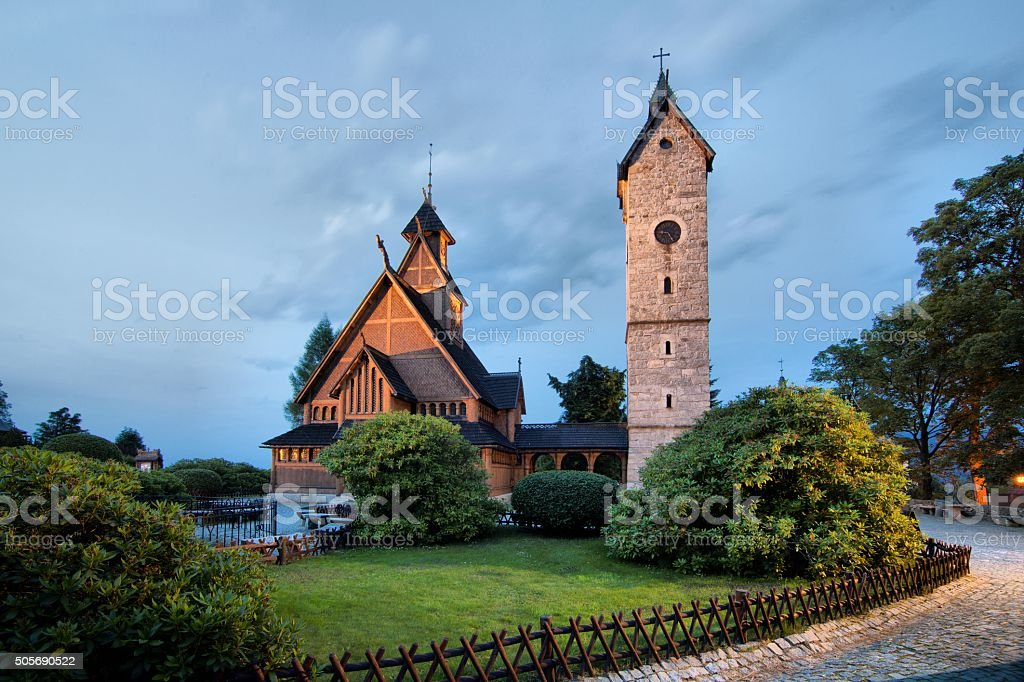 Historic wooden temple Wang in Karpacz, Poland stock photo