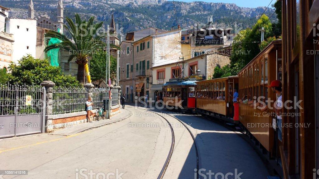 Historic wooden tram in Port de Soller, Mallorca, Spain. – zdjęcie