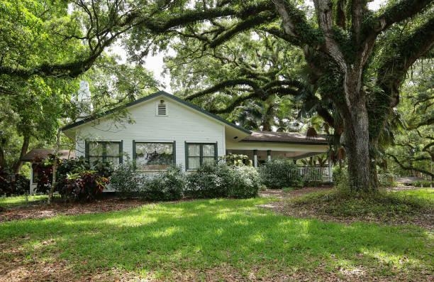 Historic Wray House at Flamingo Gardens stock photo
