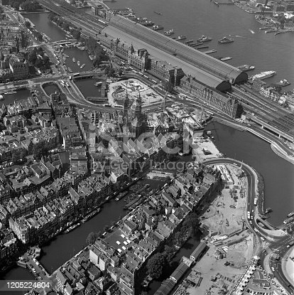 Amsterdam, Holland,July 12- 1977: Historical aerial photo of the Central Station Amsterdam, Holland in black and white