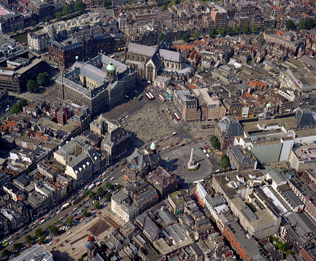 Amsterdam, Holland, August 24 - 1987: Historical aerial photo of the Dam square and royal place in Amsterdam