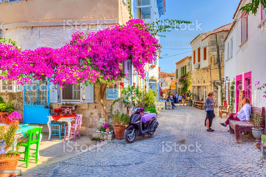 Historical Alacati Town in Turkey stock photo