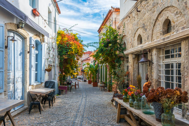 Historical Alacati Town in Turkey stock photo