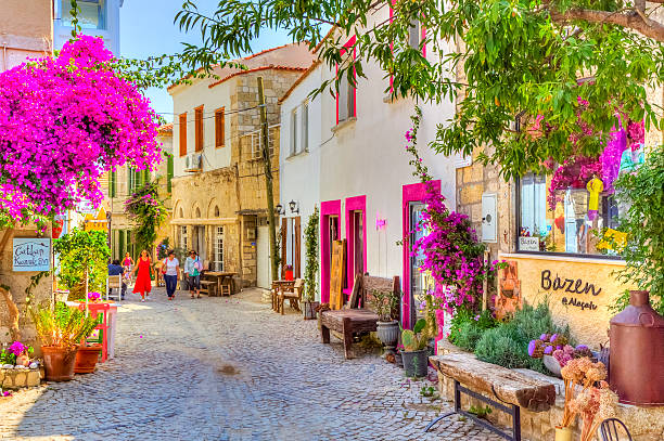 Historical Alacati Town, Turkey stock photo