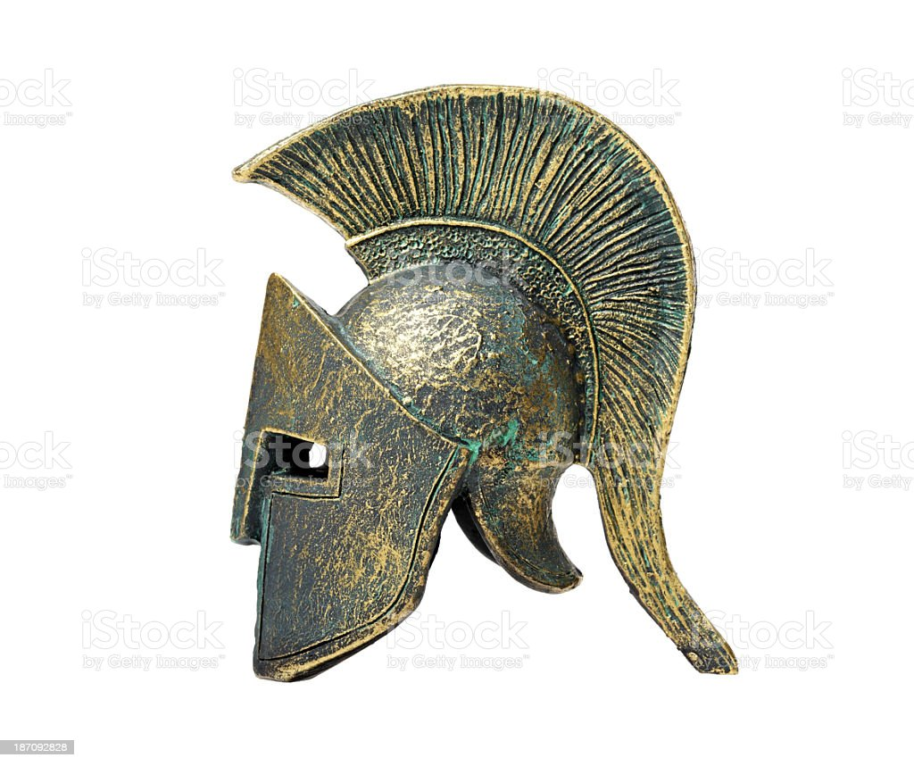 Historical Ancient Greek Spartan helmet on display stock photo