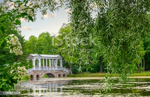 St. Petersburg, Pushkin, Russia. August 22, 2020. Historical architectural wonderful building made of marble material in Catherine Park. Horizontal orientation, selective focus.