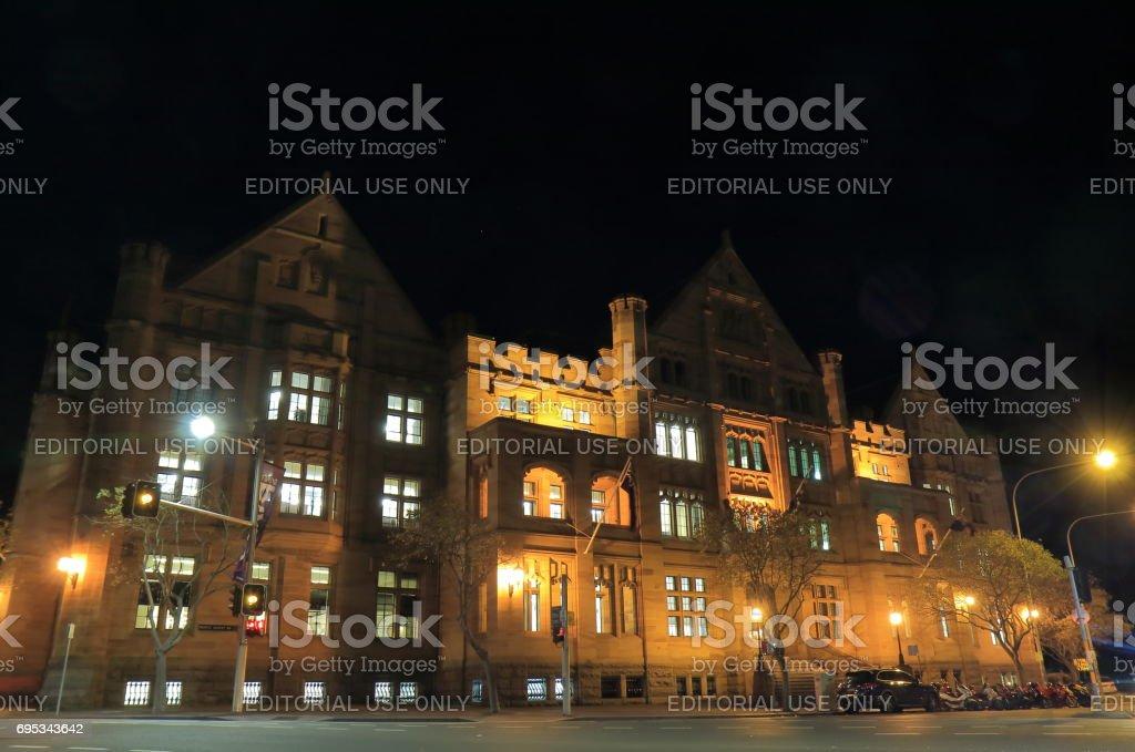 Historical architecture night cityscape Sydney Australia stock photo
