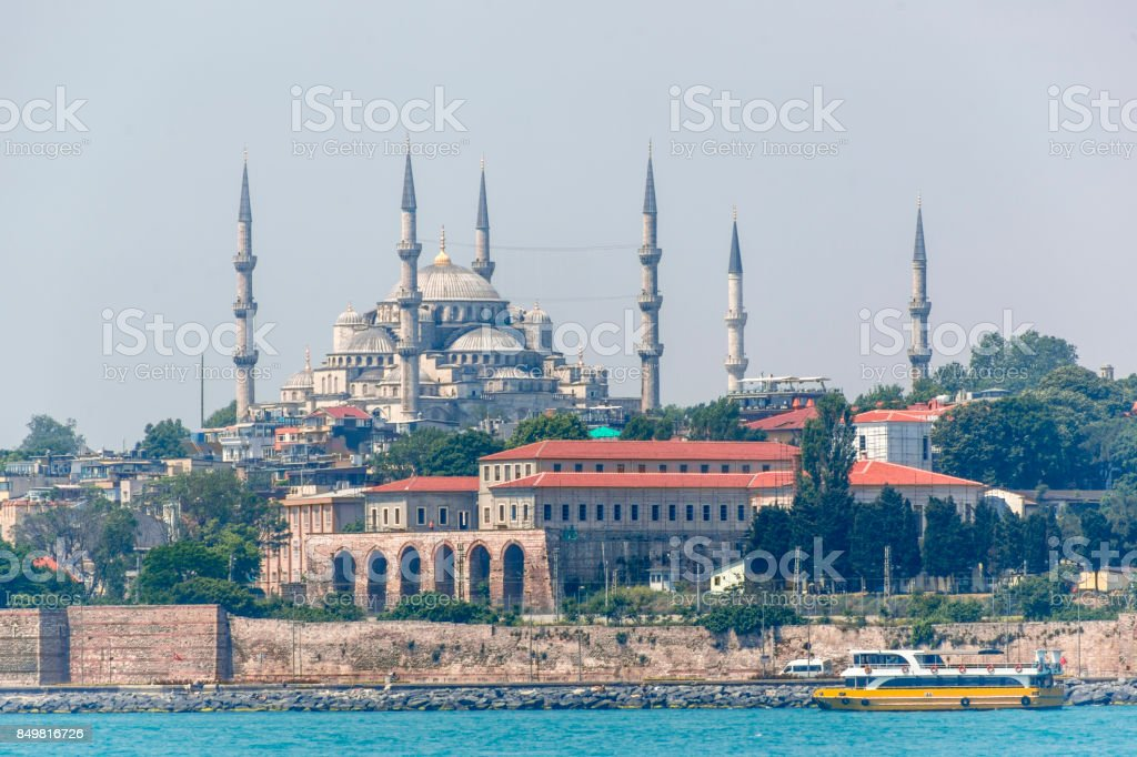 Historical blue mosque museum and minarets near topkapi palace in istanbul turkey stock photo