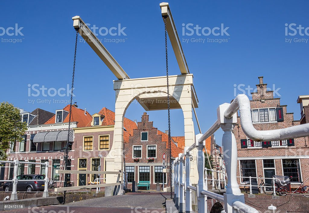Historical bridge and houses in the center of Alkmaar stock photo