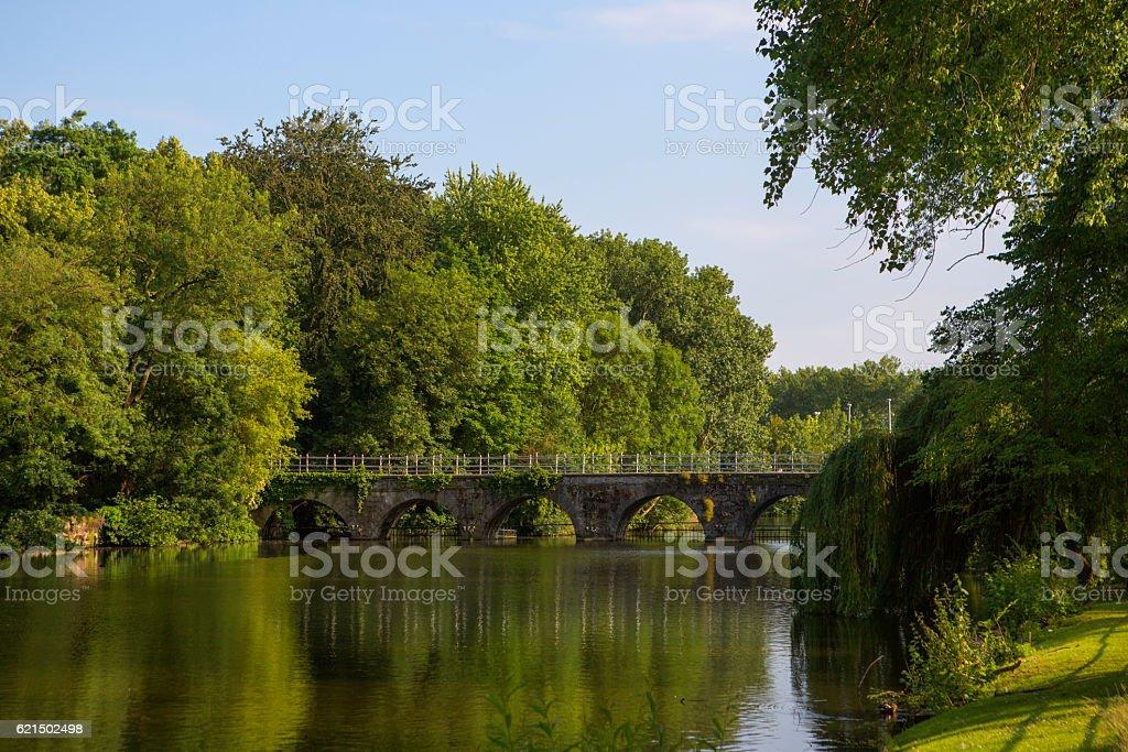 Historical bridge at baron ruzette park in brugge belgium Lizenzfreies stock-foto