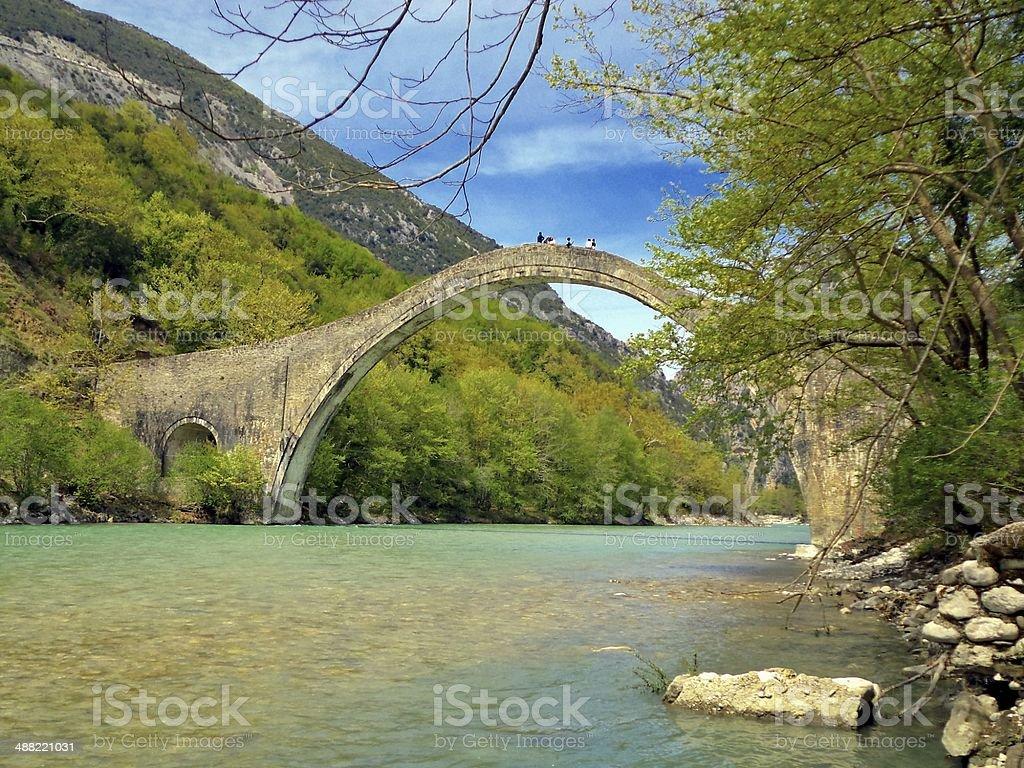Historical bridge of Plaka, Greece stock photo