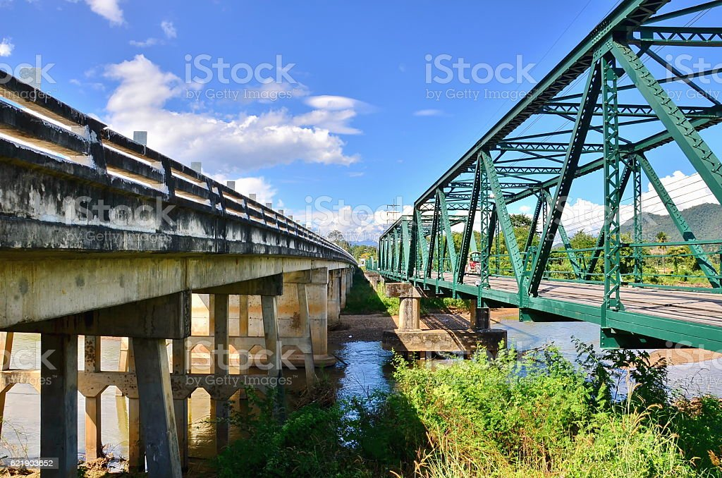 Historical bridge over the pai river stock photo