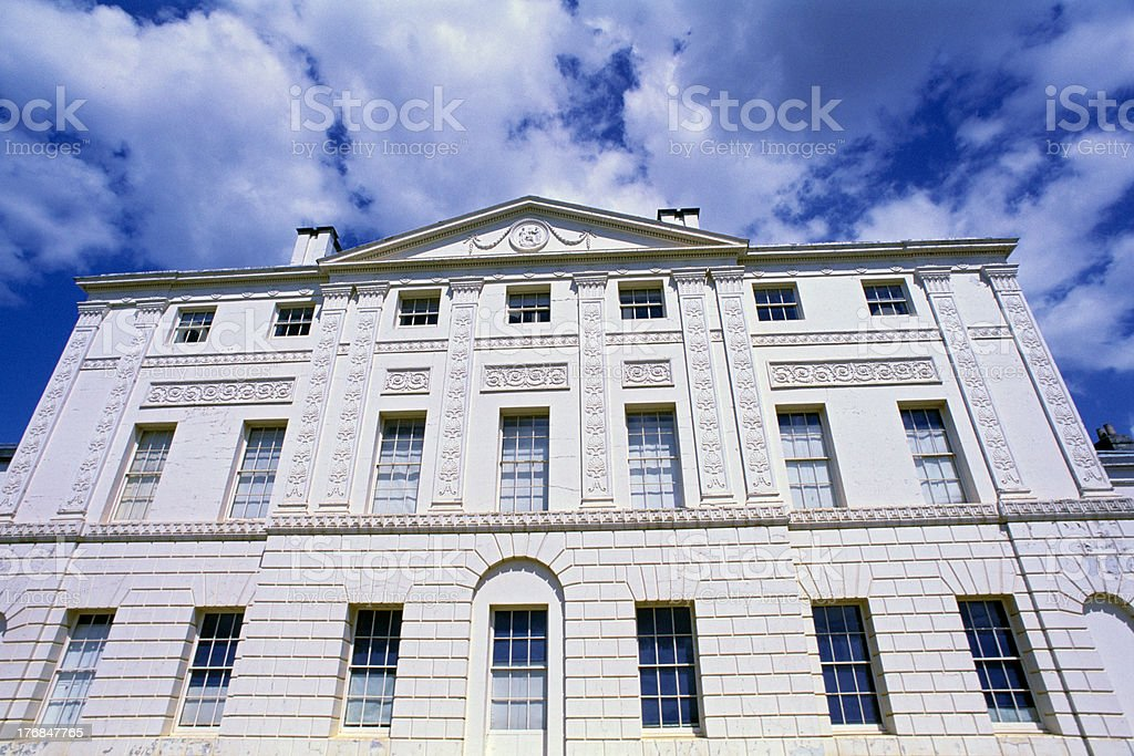 historical building against blue sky stock photo