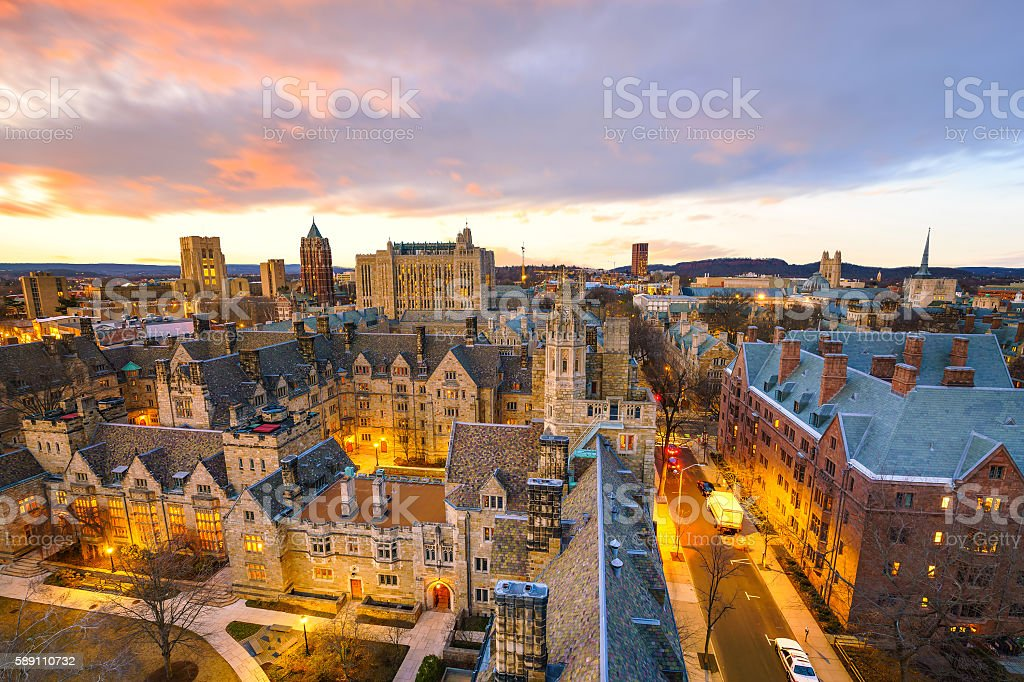 Historical building and Yale university campus stock photo