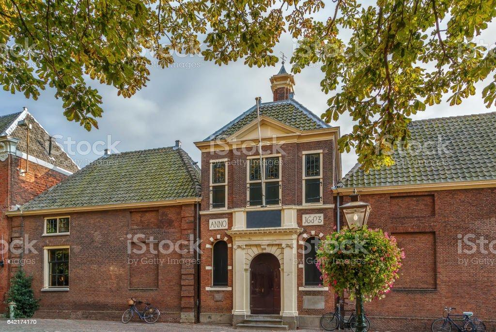 Historical building in Leiden, Netherlands stock photo