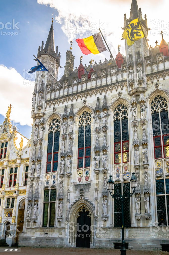 Historical building in the center of Bruges- Belgium stock photo