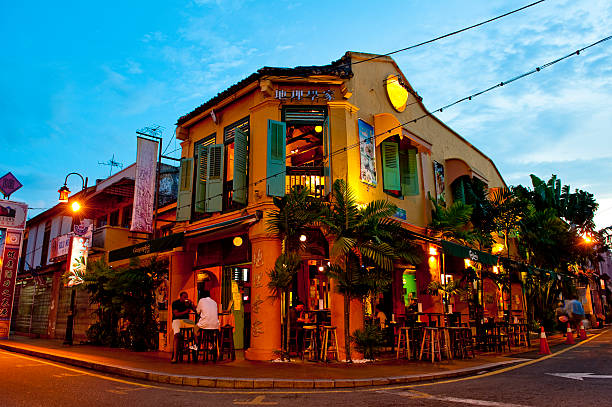 historical building in the china town, malacca, malaysia - malakka staat stockfoto's en -beelden