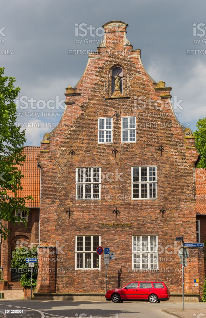 Historical building Ratsbucherei in the center of Luneburg, Germany stock photo
