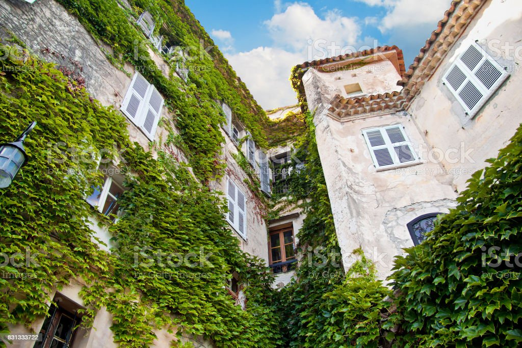 Historical building with green plant vegetation. In Eze Village, France. Europe. stock photo