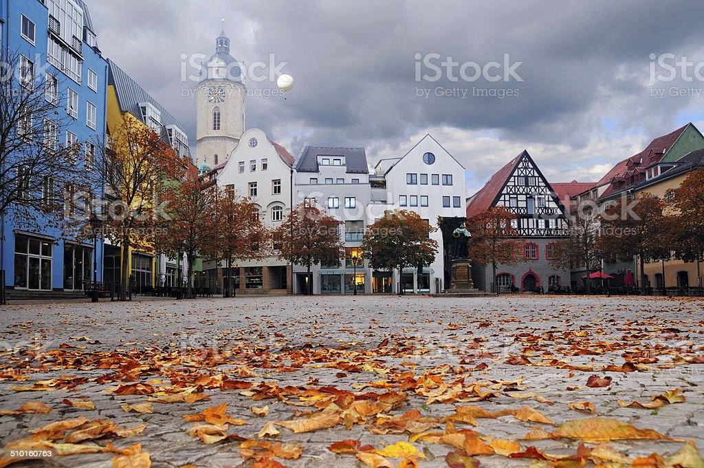 Historical buildings facing the market square in the ancient Ger stock photo