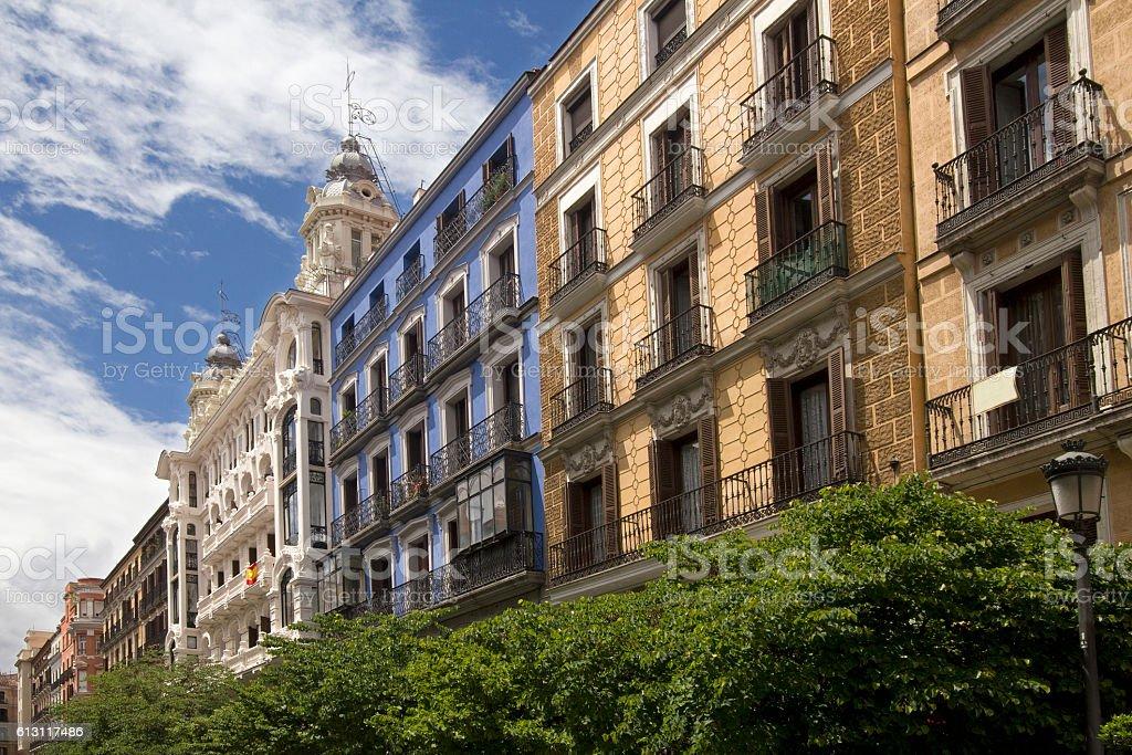 Historical buildings in Madrid, Spain stock photo