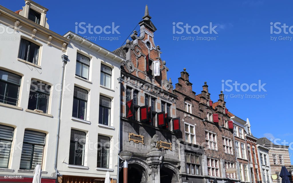 Historical buildings in Nijmegen, Holland stock photo