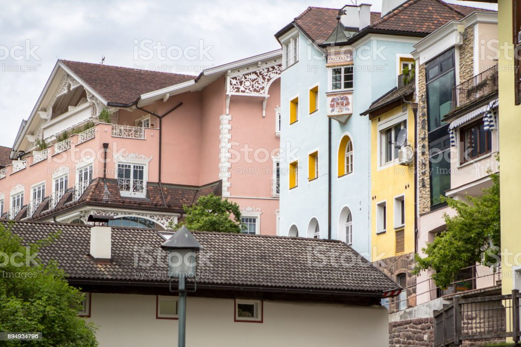Historical buildings in Ortisei, Italy stock photo