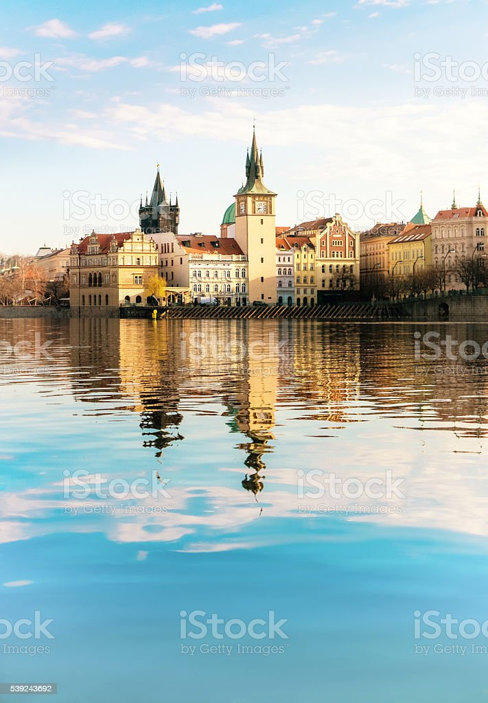 Historical buildings in Prague from across the river royalty-free stock photo