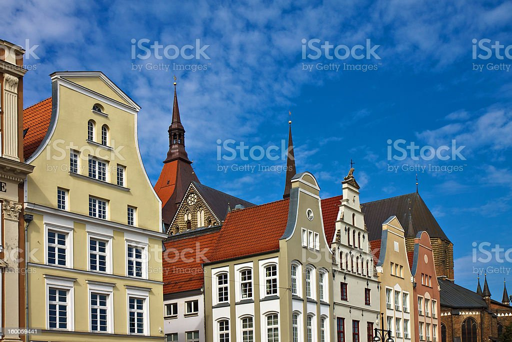 Historical buildings Historical buildings in Rostock (Germany). Ancient Stock Photo
