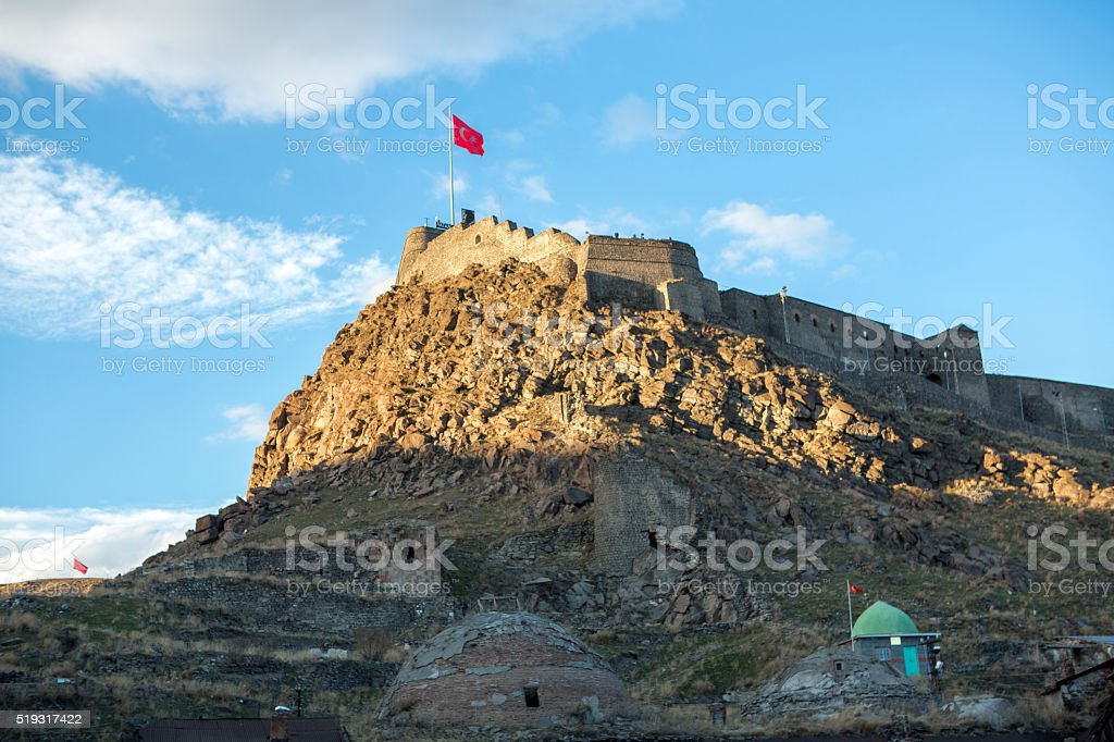 historical castle in the center of Kars city Turkey stock photo