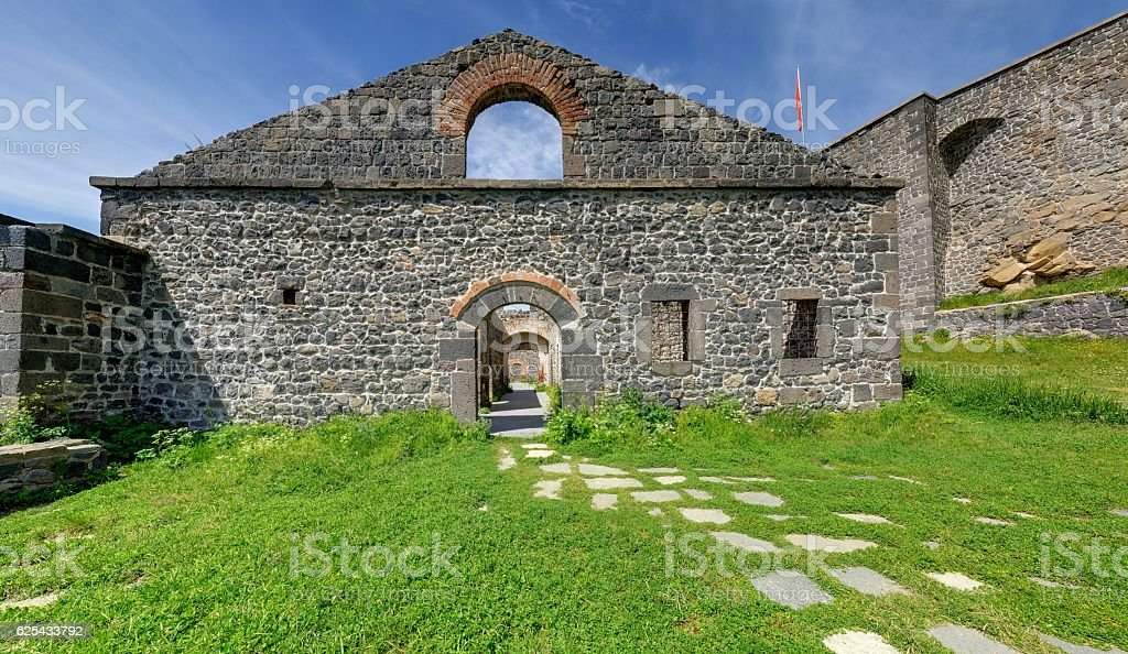 Historical Castle Mosque, Kars Turkey stock photo