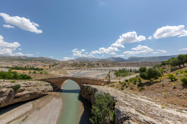 Historical Cendere Bridge in Adiyaman Province stock photo