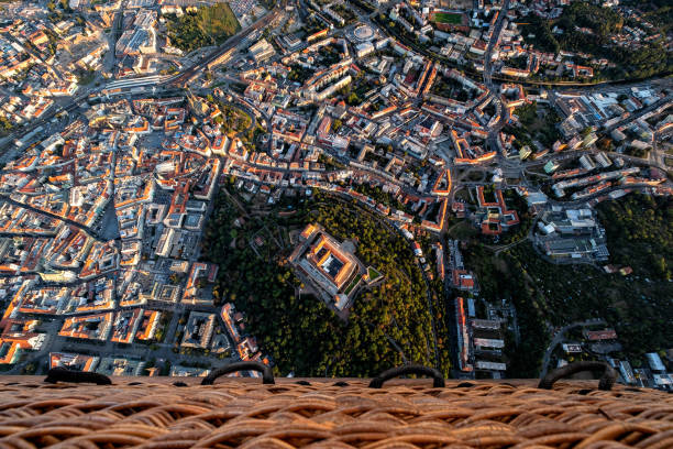historical center of Brno Aerial view of historical center of Brno in Czech Republic viewed from hot air baloon. brno stock pictures, royalty-free photos & images