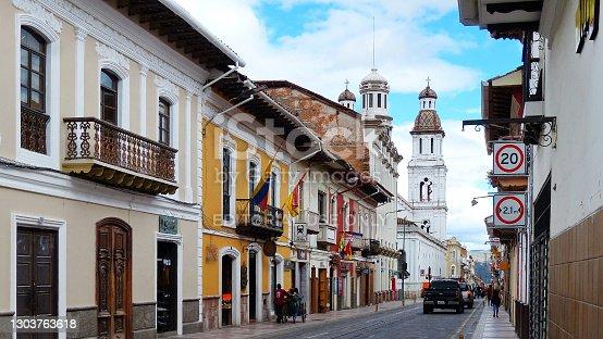 Cuenca, Ecuador - October 27, 2018: Historical center of city Cuenca, UNESCO heritage site. View at the street Gran Colombia and church Santo Domingo