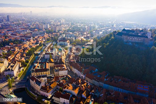 istock Historical center of Ljubljana with Castle Hill 1296415755