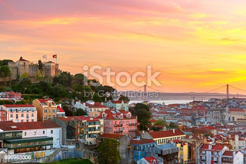 The historical centre of Lisbon, Tagus River and 25 de Abril Bridge at scenic sunset, Lisbon, Portugal