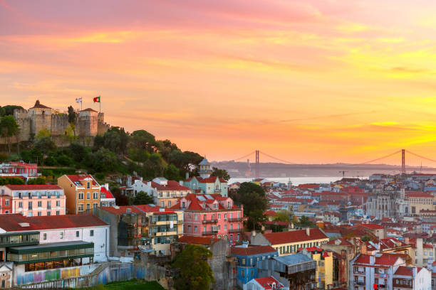 Historical centre of Lisbon at sunset, Portugal stock photo
