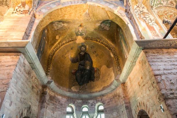 Historische Chora-Kirche Gemälde mittelalterliche byzantinische griechisch-orthodoxe Kirche bewahrt als das Chora Kariye Museum in Edirnekapi Fatih Eyüp-Istanbul-Türkei – Foto