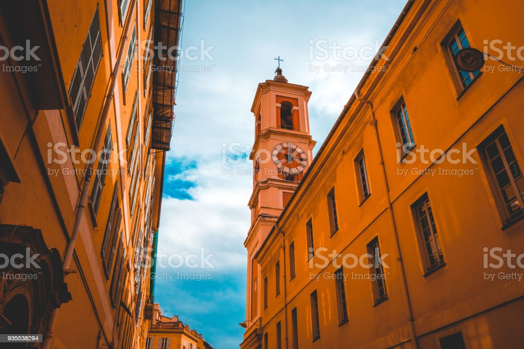 historical church in a alley at nice stock photo
