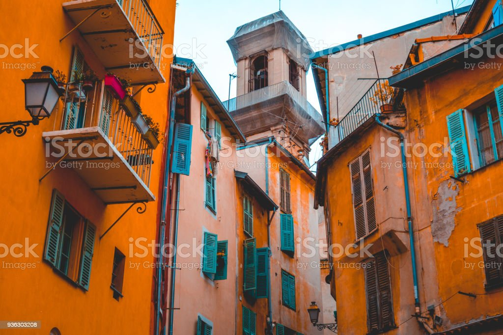 historical city view of nice with orange colors stock photo