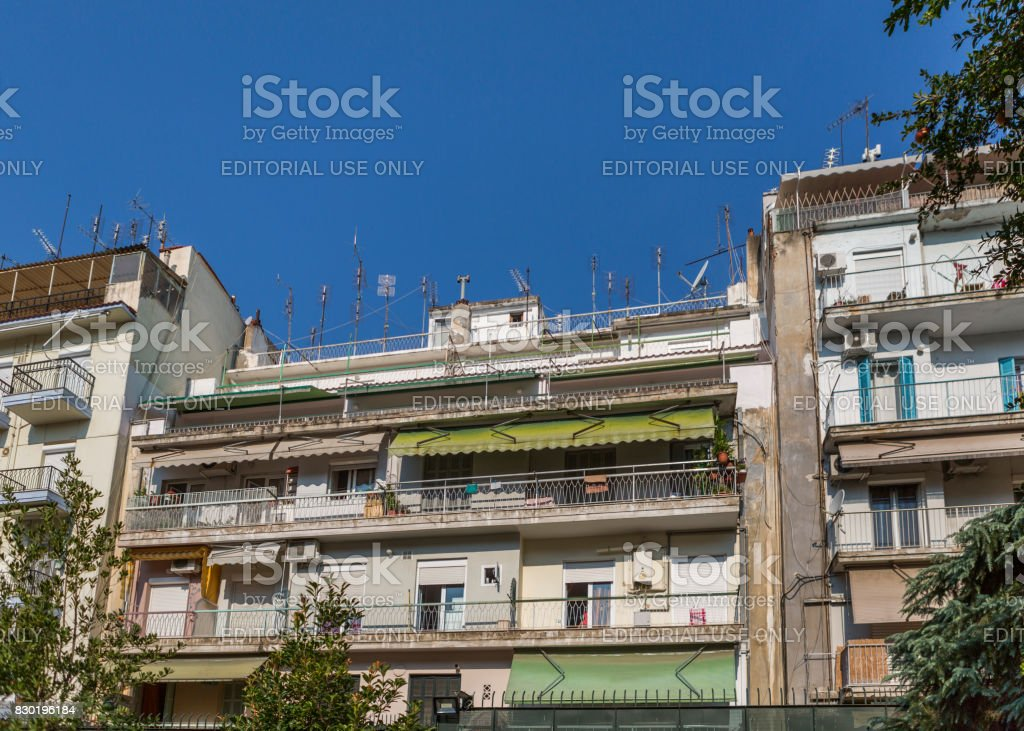 historical city with traditional apartment buildings at Thessaloniki greece stock photo