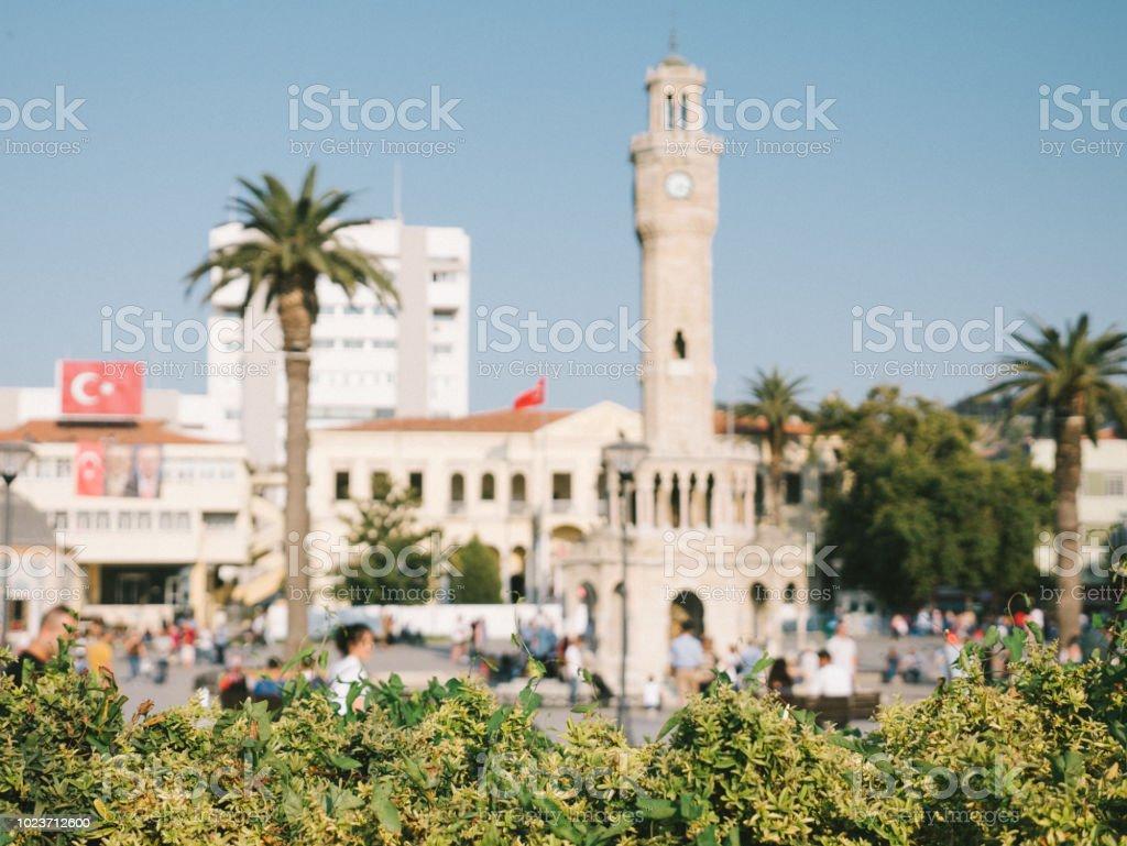 Historical Clock Tower in Konak Square in İzmir stock photo