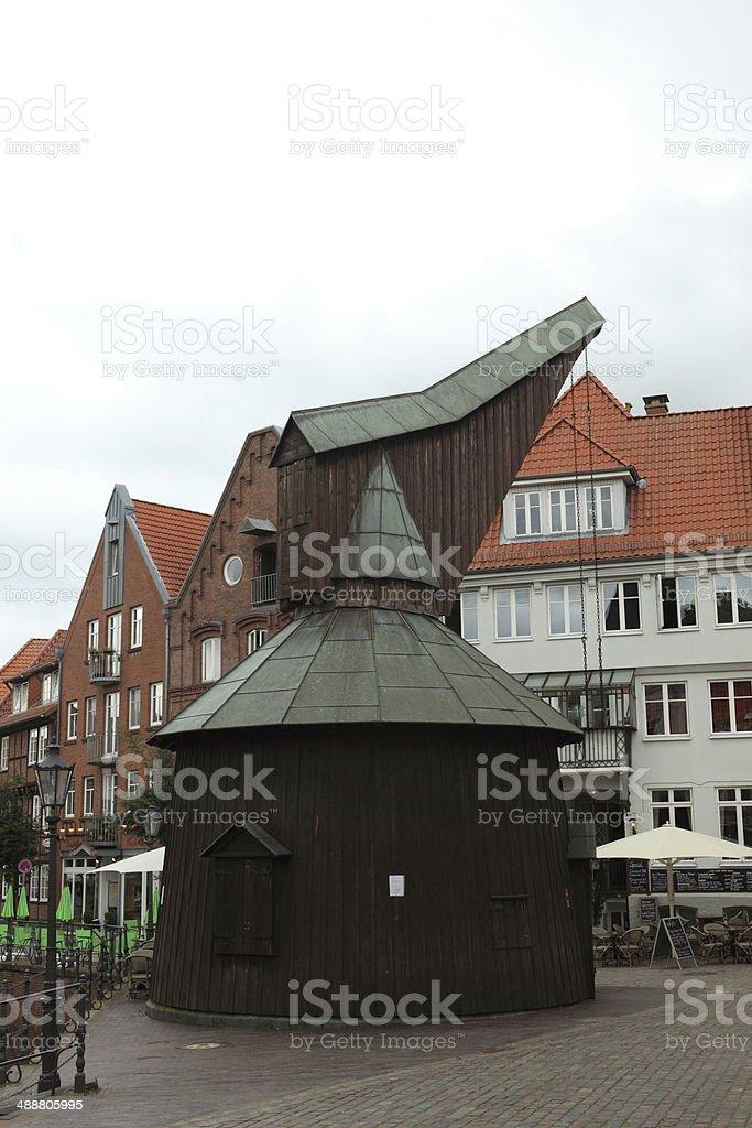 Historical crane of Stade stock photo