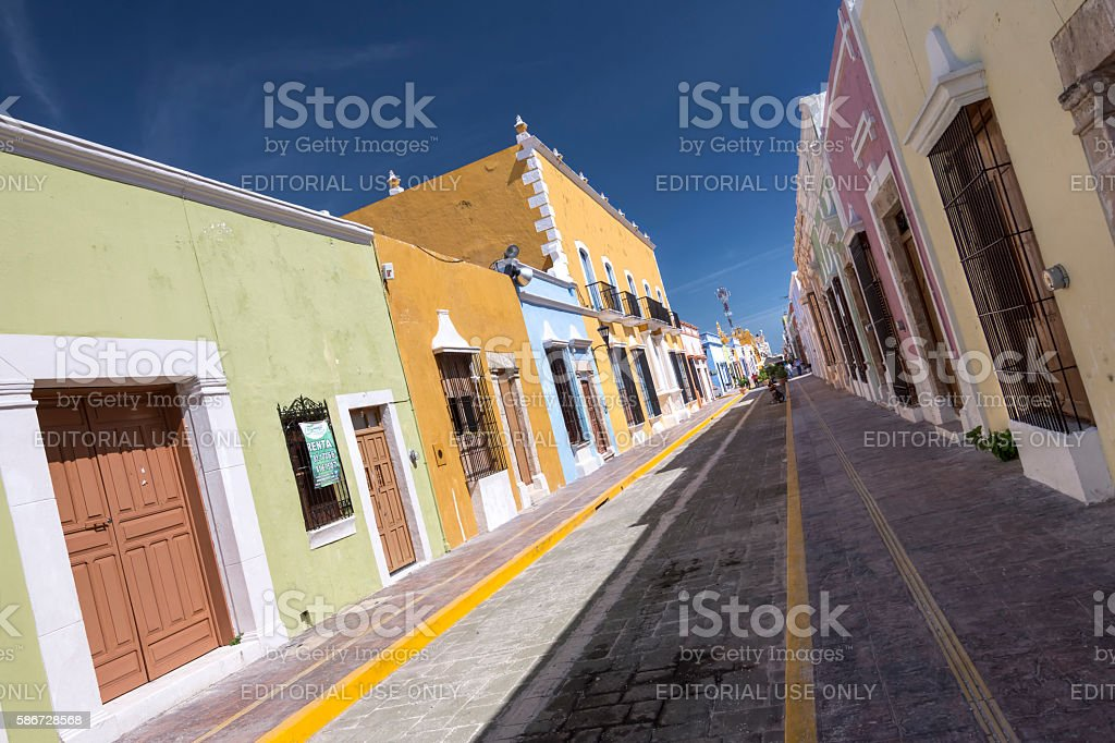 Historical downtown city of Campeche in Mexico stock photo