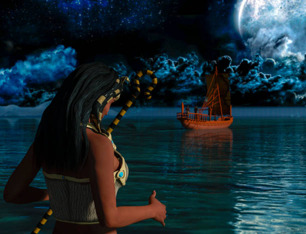 A historical Egyptian woman watching an ancient Egyptian boat. stock photo
