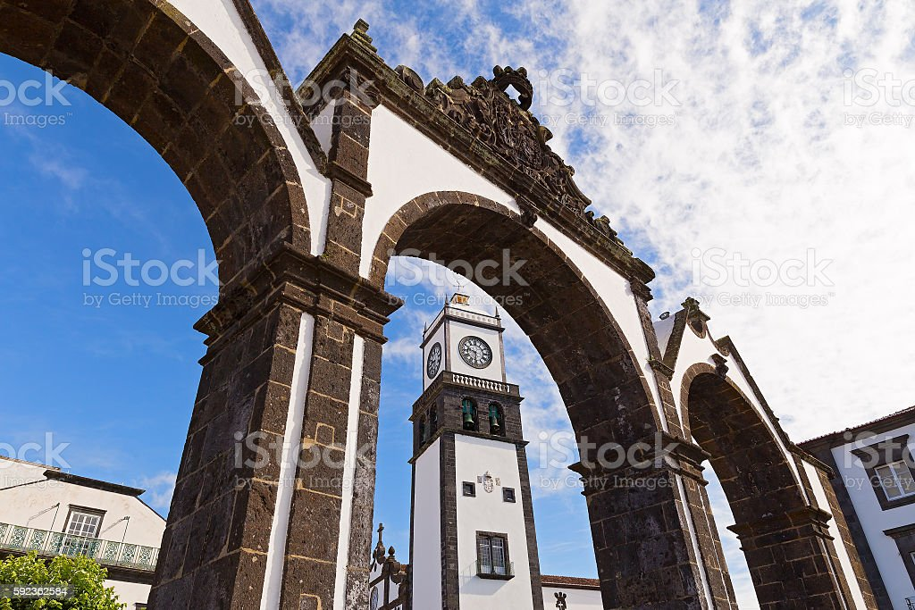 Historical entrance in Ponta Delgada in Azores, Portugal. - foto de stock