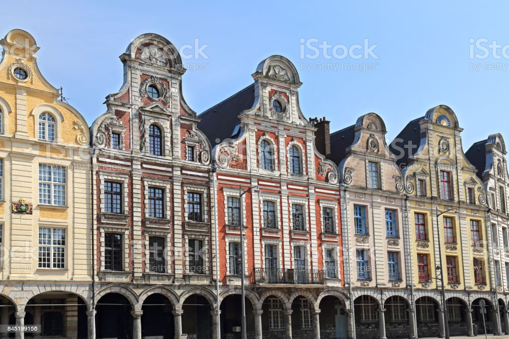 Historical gables on Grand Place in Arras, France stock photo