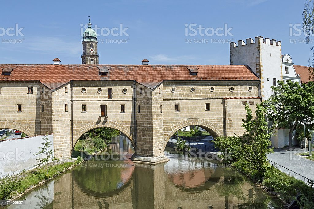 Historical gate in Amberg, Bavaria stock photo