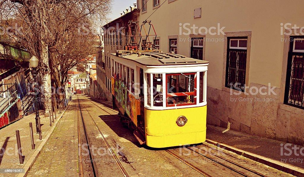historical Gloria Funicular in Lisbon, Portugal stock photo