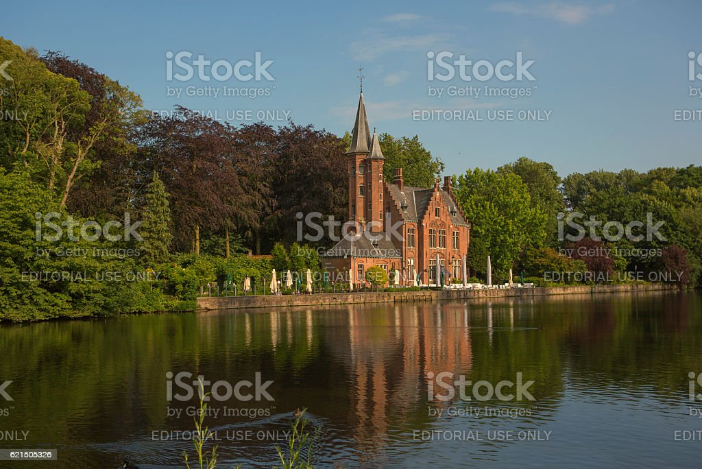 Historical gothic building at baron ruzette park in brugge belgium foto stock royalty-free